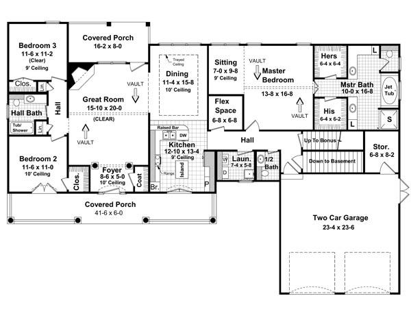 План 1 этажа Проект одноэтажного кирпичного дома в английском стиле с мансардной крышей