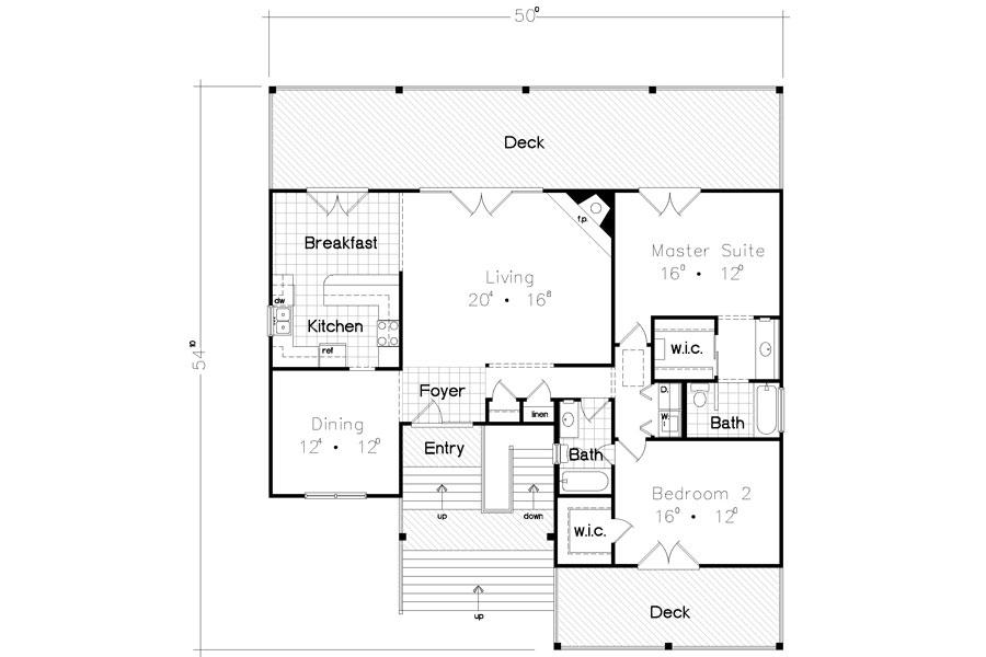 План 1 этажа Проект одноэтажного каркасного дома на сваях с двумя террасами