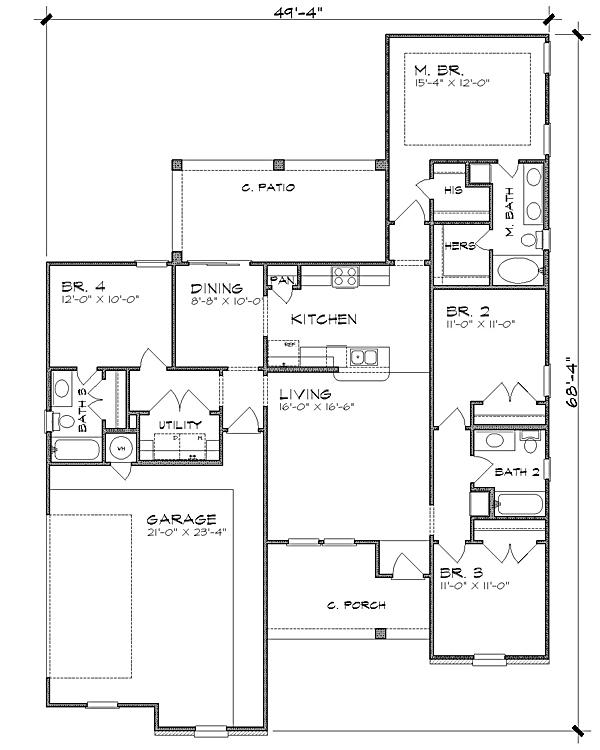 План 1 этажа План одноэтажного дома с 4 спальнями до 160 кв м
