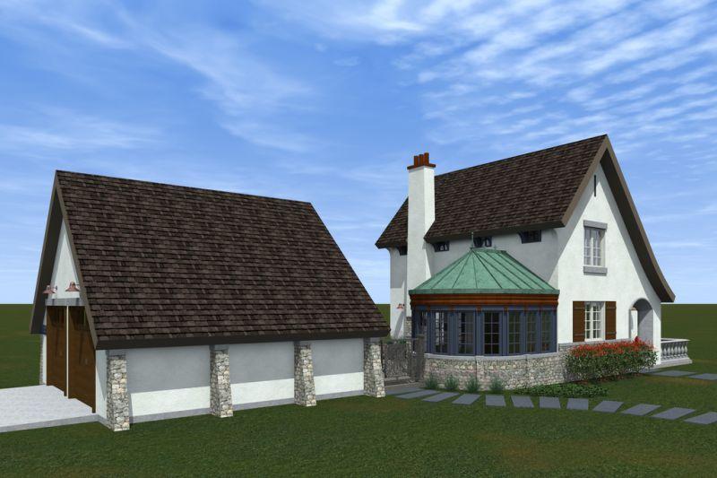 Проект HP-3393-2-3 Дом с отдельным гаражом Проект эксклюзивного дома для Сибири с асимметричной крышей