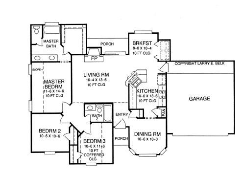 Этот практичный проект одноэтажного дома 12 метров площадью  до 150 кв.м с гаражом на 2 машины и с 3 спальнями подходит для постоянного проживания. Также перед домом есть веранда..