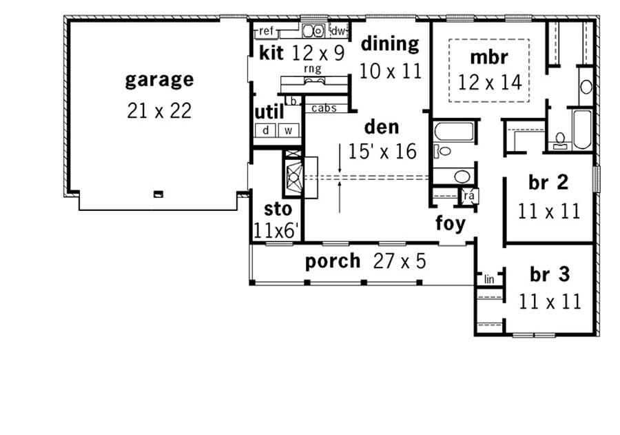 Этот удобный проект одноэтажного дома 11 метров площадью  до 150 кв.м с гаражом на 2 машины и с 3 спальнями подходит для постоянного проживания. Также перед домом есть веранда..