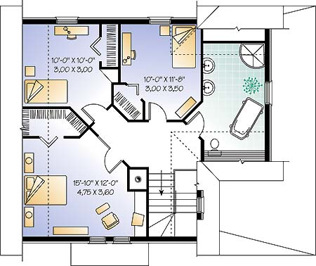 План 2 этажа Проект загородного дома дома с мансардой до 200 кв м  TD-4668