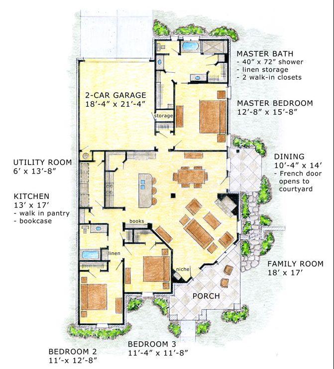 План 1 этажа Проект одноэтажного дома LG-9469-1-3 171 кв м