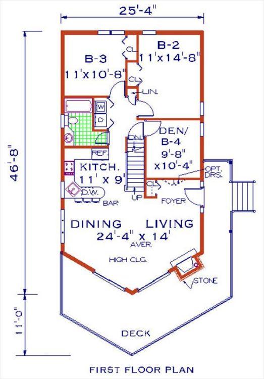 План 1 этажа Проект одноэтажного дома с мансардой 8x14 в стиле шале