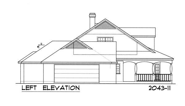 Вид слева Проект дома с верандой, слуховыми окнами на двускатной крыше и пристроенным гаражом на две машины