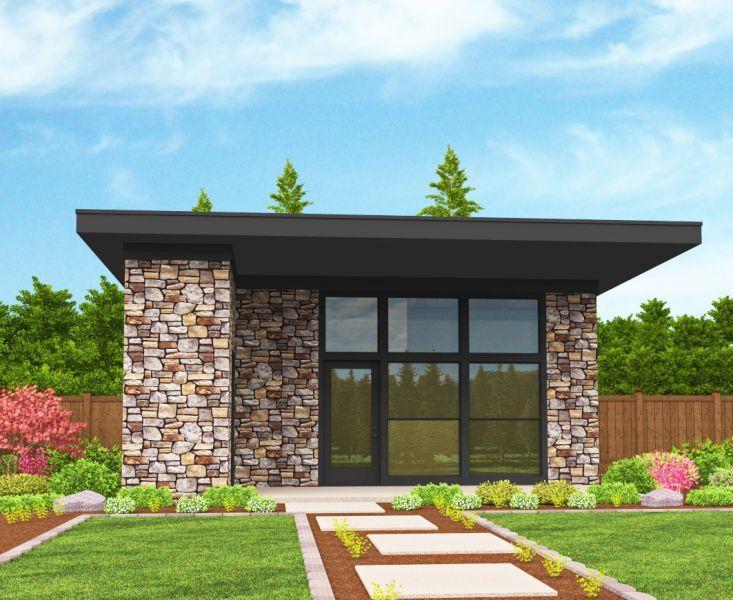 Этот практичный проект одноэтажного дома в современном стиле 7 на 9 метров площадью  до 100 кв.м с одной спальней подходит для постоянного проживания.