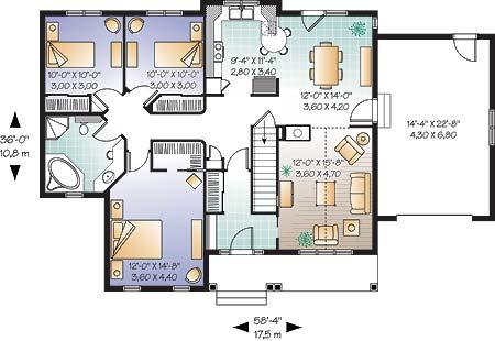 Популярный проект одноэтажного дома 11 метров площадью  до 150 кв.м с гаражом и с 3 спальнями подходит для постоянного проживания. В большой спальне есть ванная. Также перед домом есть веранда..