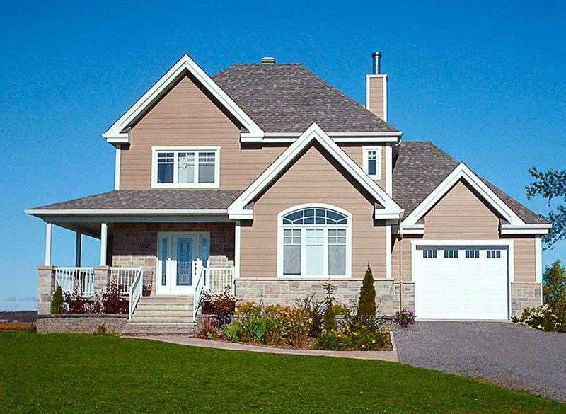 This country house facade has and faced with . completes the look of this house. House plan is 51 feet wide by 34 feet deep and provides 1882 square feet of living space in addition to a one-car garage Space includes a split-level entrance hall, split levels, with a walk-in closet, with a staircase to the upper level, with a staircase to the basement, Great Room, with a staircase to the upper level, an entry to the deck, a separate kitchen, the Master Bedroom, with a five pieces bathroom, with a walk-in closet, additional Bedrooms, with a walk-in closet, with Jack and Jill bathroom. The upper floor has 847 square feet of living space and features .