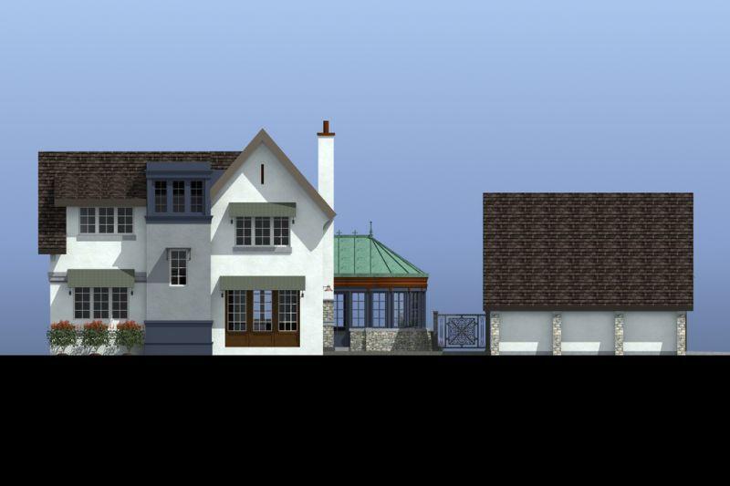 Фасад спереди Проект эксклюзивного дома для Сибири с асимметричной крышей