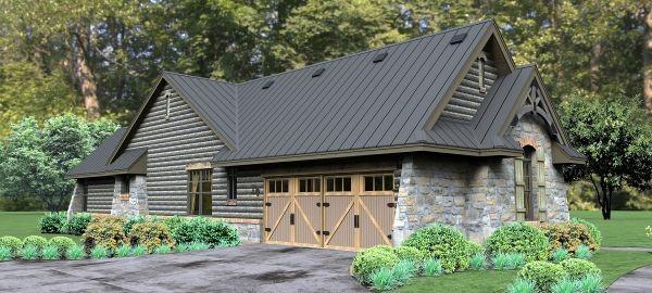 Этот красивый проект каркасного дома с каменной облицовкой и резными деревянными деталями площадью до 250 кв.м с гаражом на 2 машины и с 3 спальнями подходит для постоянного проживания.