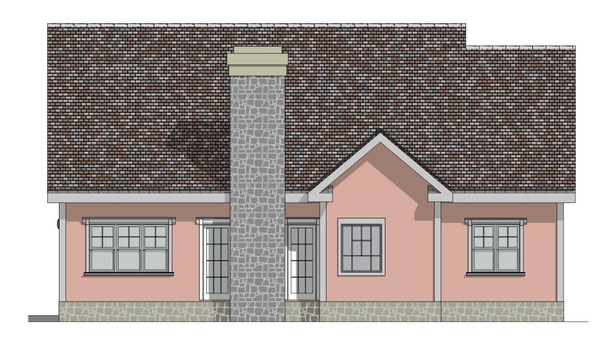 Отличный проект одноэтажного дома  площадью  до 150 кв.м со встроенным гаражом на 2 машины с боковым въездом и 3 спальнями подходит для постоянного проживания.