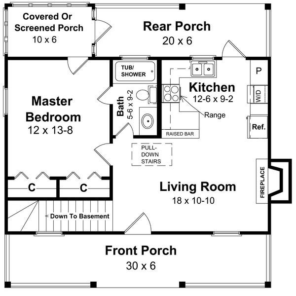 План одноэтажного дома в американском стиле 9 на 9 метров площадью  до 150 кв.м с 3 спальнями подходит для постоянного проживания.