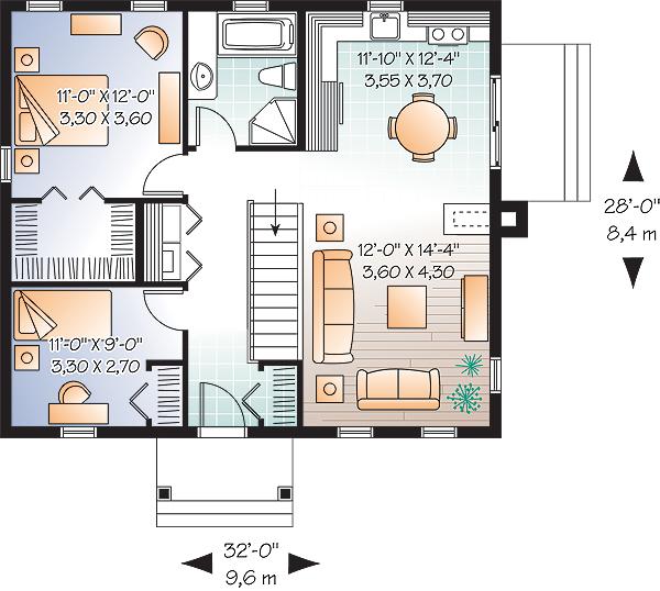 Этот привлекательный проект одноэтажного дома в дачном стиле 9 на 8 метров площадью  до 100 кв.м с 2 спальнями подходит  для дачи .