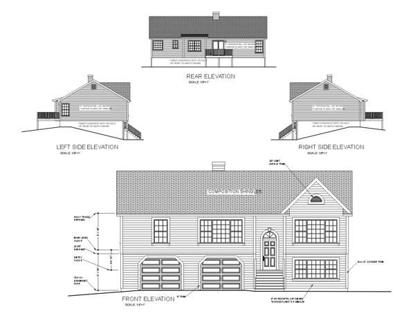 Вид сзади План 2-этажного дома 15x9 147 кв м