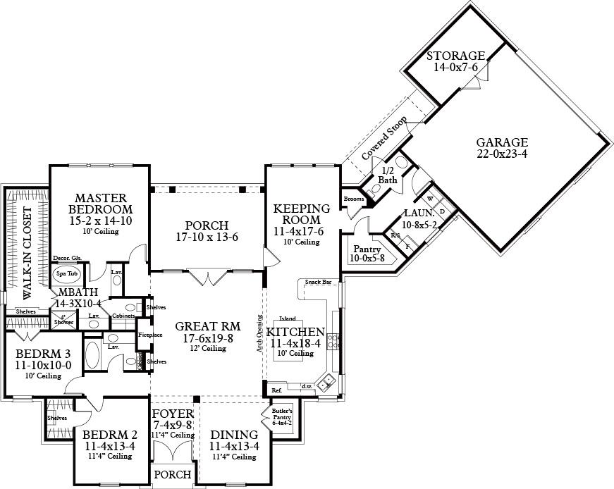 Интересный проект одноэтажного дома в стиле прованс площадью  до 250 кв.м с гаражом на 2 машины и с 3 спальнями подходит для постоянного проживания. В большой спальне есть ванная. Также перед домом есть веранда..