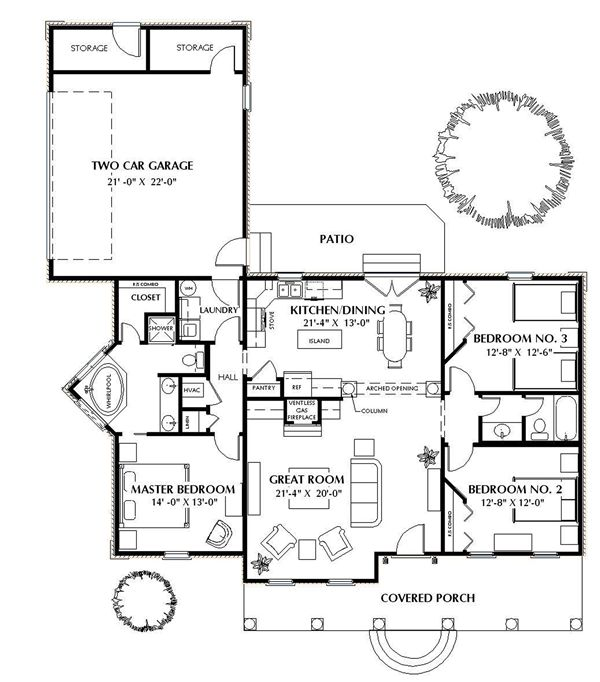 План 1 этажа План 1-этажного дома 18x20 146 кв м