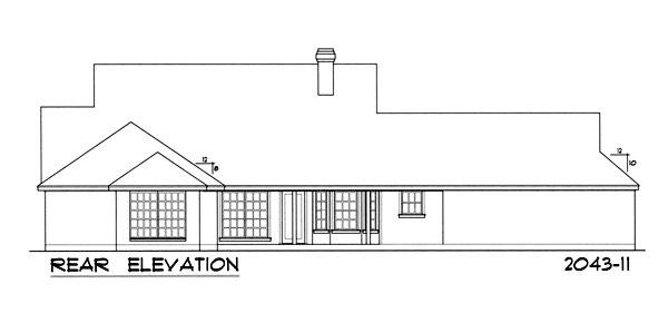 Вид сзади Проект дома с верандой, слуховыми окнами на двускатной крыше и пристроенным гаражом на две машины