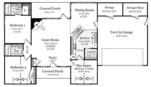 Этот практичный проект одноэтажного дома в средиземноморском стиле11 метров площадью  до 150 кв.м с гаражом на 2 машины и с 3 спальнями подходит для постоянного проживания. Также перед домом есть веранда..