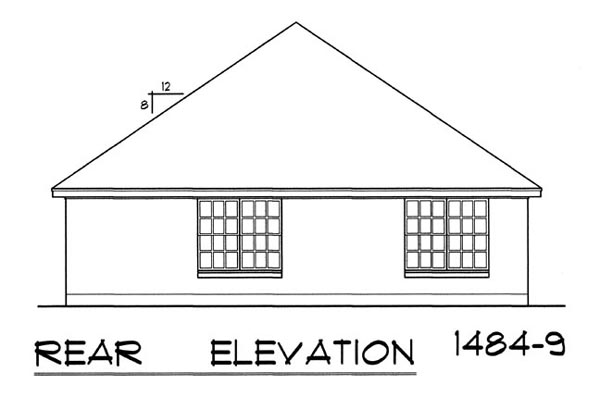 Вид сзади Проект одноэтажного дома для узкого участка с обособленной гостиной