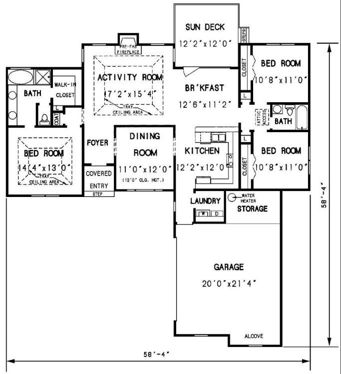 Этот привлекательный проект одноэтажного дома  площадью  до 150 кв.м с гаражом на 2 машины и с 3 спальнями подходит для постоянного проживания. В большой спальне есть ванная. В проекте дома есть терраса..