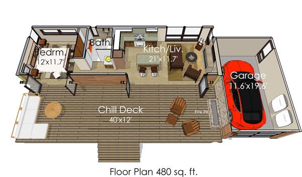 Этот удобный проект одноэтажного дома в современном стиле площадью до 50 кв.м с гаражом и с одной спальней подходит для постоянного проживания. В проекте дома есть терраса..