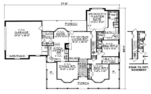 План 1 этажа Проект дома с верандой, слуховыми окнами на двускатной крыше и пристроенным гаражом на две машины