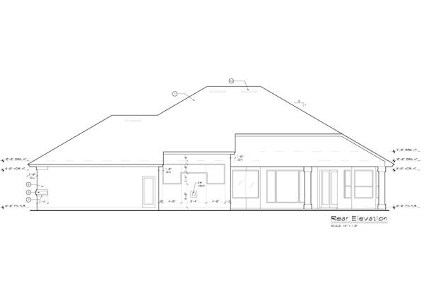Интересный проект одноэтажного дома  площадью  до 250 кв.м с большим гаражом и с 3 спальнями подходит для постоянного проживания. В большой спальне есть ванная. Также сзади дома пристроена веранда..