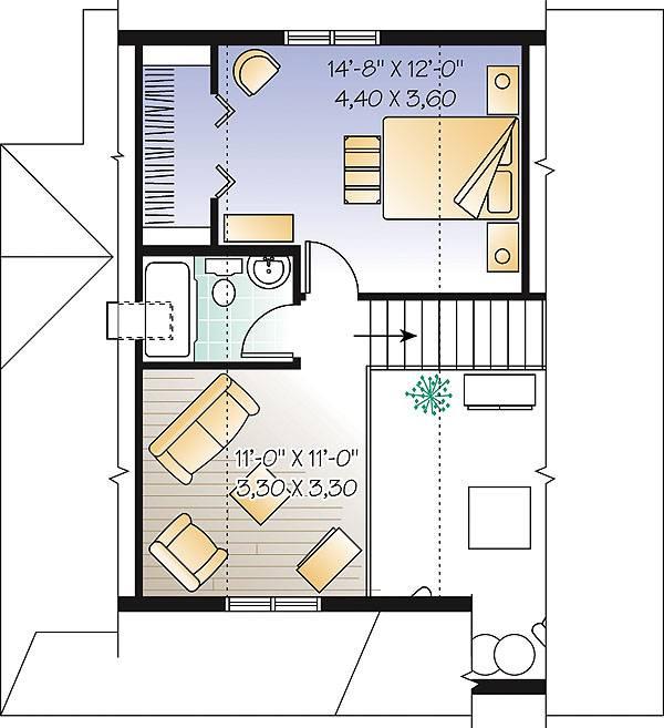 Этот привлекательный проект одноэтажного дома с мансардой в дачном стиле 7 на 9 метров площадью  до 150 кв.м с 2 спальнями подходит  для дачи и  строительства дома с цокольным этажом на участке с уклоном и  для строительства дома с цокольным этажом на склоне . Также перед домом есть веранда..