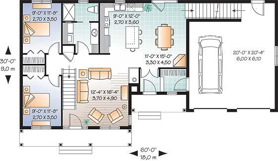 План 1 этажа План дома с мансардой и гаражом до 150 кв. м: планировка с 3 спальнями на мансарде