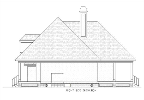 Вид справа План 1-этажного дома в стиле прованс с вторым светом