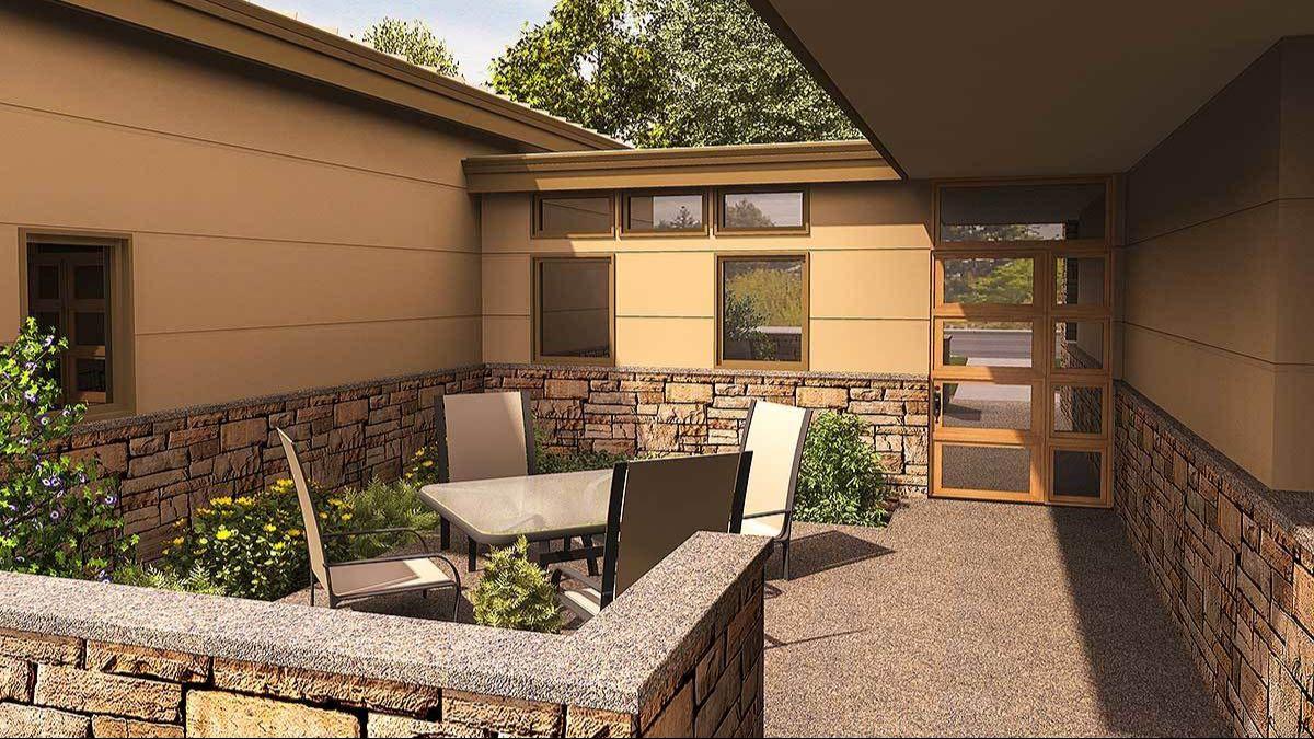 Внутренний домик дома П-образной формы. Проект AM-69512