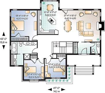 Этот привлекательный проект одноэтажного дома 12 метров площадью  до 150 кв.м с 3 спальнями подходит  для строительства дома с цокольным этажом на склоне . В большой спальне есть ванная. Также перед домом есть веранда..