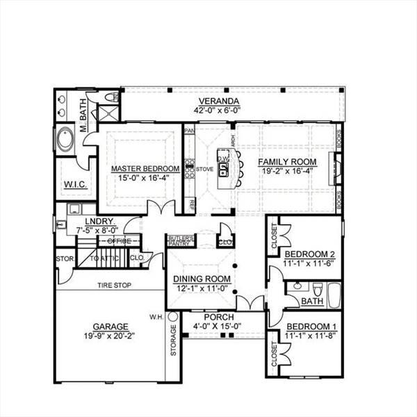 План 1 этажа План 1-этажного дома 16x16 173 кв м