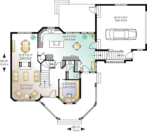 План 1 этажа Проект красивого двухэтажного дома с полукруглой верандой и отдельной дополнительной комнатой над гаражом