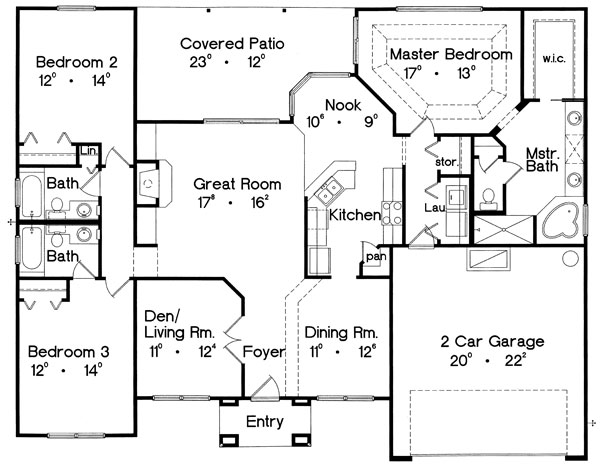 Этот прекрасный проект одноэтажного дома в европейском стиле площадью  до 200 кв.м с гаражом на 2 машины и с 3 спальнями подходит для постоянного проживания. Также перед домом есть веранда..