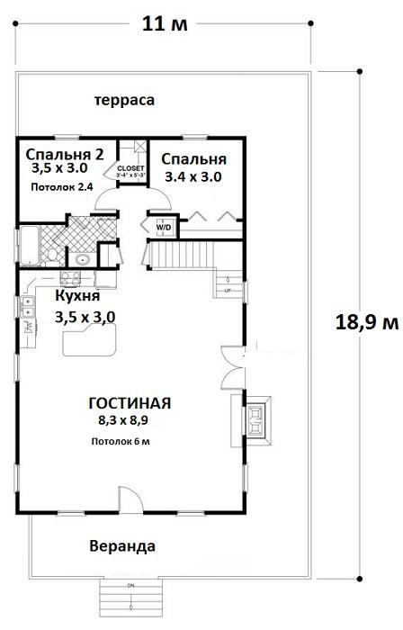 план 1 этажа План одноэтажного дома с мансардой и вторым светом