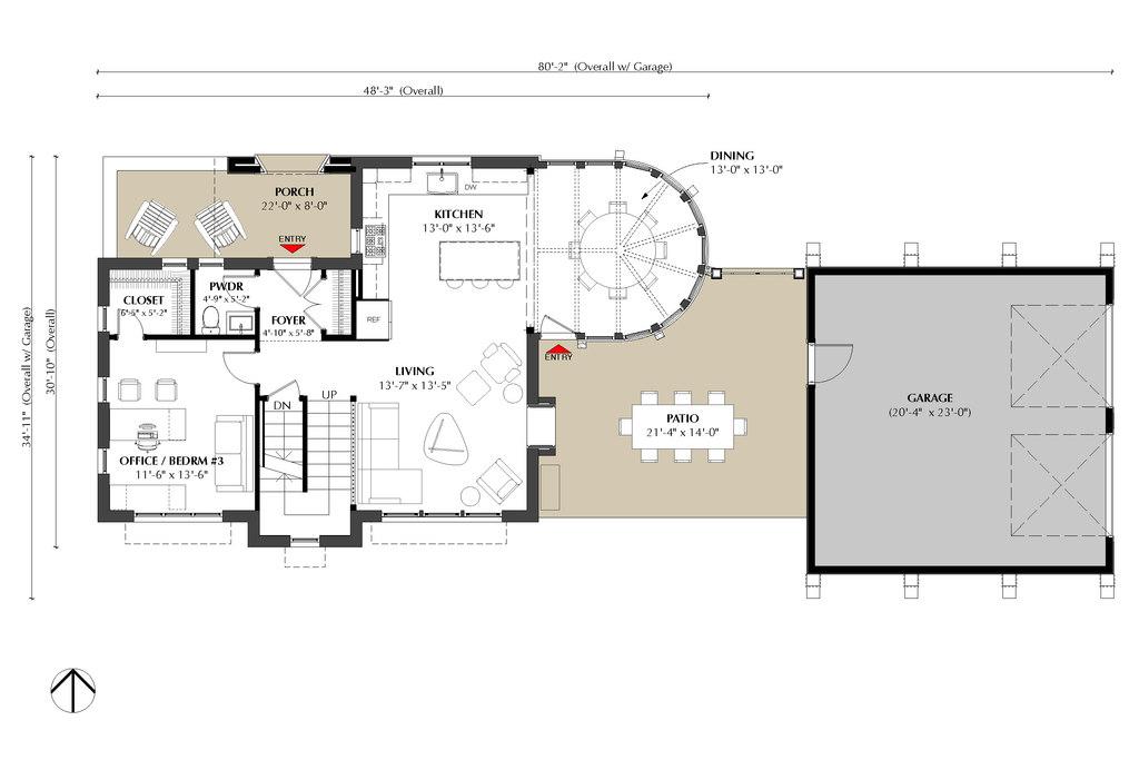 План 1 этажа Проект эксклюзивного дома для Сибири с асимметричной крышей