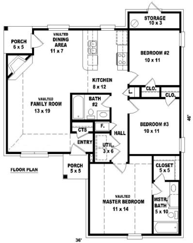 Этот популярный проект одноэтажного дома  площадью  до 150 кв.м с 3 спальнями подходит для постоянного проживания. Также перед домом есть веранда..