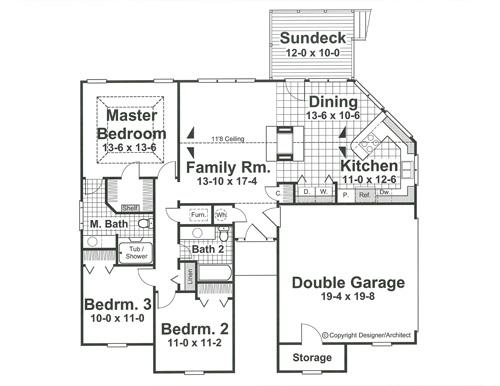 Этот привлекательный проект одноэтажного дома 12 метров площадью  до 150 кв.м с гаражом на 2 машины и с 3 спальнями подходит для постоянного проживания. В проекте дома есть терраса..