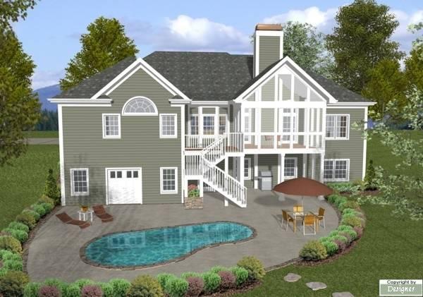 План 1-этажного дома 19x19 186 кв м House Rear Elavation