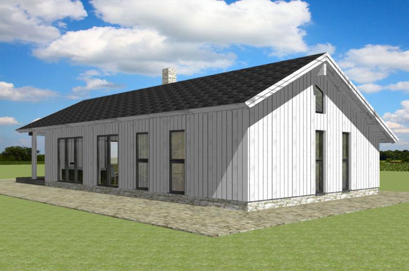 Этот прекрасный проект одноэтажного дома в финском стиле8 метров площадью  до 150 кв.м с 2 спальнями подходит для постоянного проживания. Также перед домом есть веранда..
