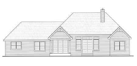 Вид сзади План одноэтажного дома с гаражом и 2 верандами