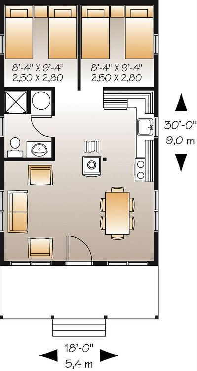 Этот красивый проект одноэтажного дома в дачном стиле9 метров площадью  до 100 кв.м с 2 спальнями подходит  для дачи . Также перед домом есть веранда..