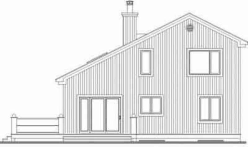Проект каркасного дома до 150 кв.м с мансардой, 3 спальнями асимметричной двускатной крышей и большими окнами веранды, придающими дому современный вид. Одна спальня и большая ванная находятся на первом этаже.