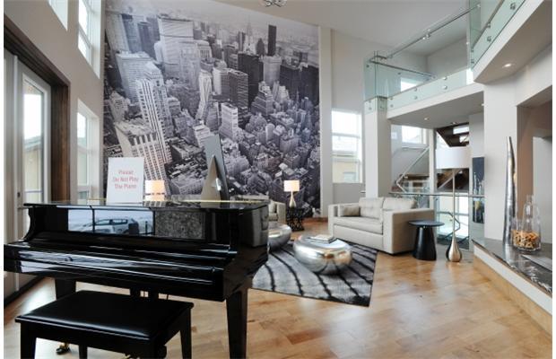Гостиная в современном стиле с роялем