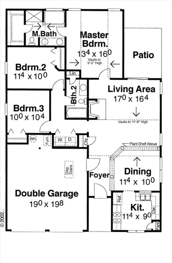 План 1 этажа План 1-этажного дома с 3 спальнями 127 кв м