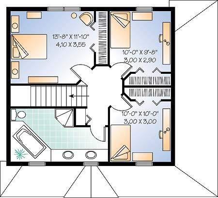 Отличный проект двухэтажного каркасного дома  8 на 7 метров площадью  до 150 кв.м с 3 спальнями подходит для постоянного проживания. В большой спальне есть ванная. Также перед домом есть веранда..