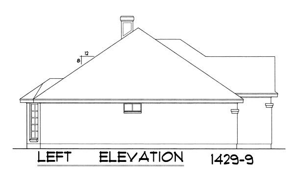 Вид слева Проект одноэтажного дома с кирпичным фасадом, вальмовой крышей и встроенным гаражом