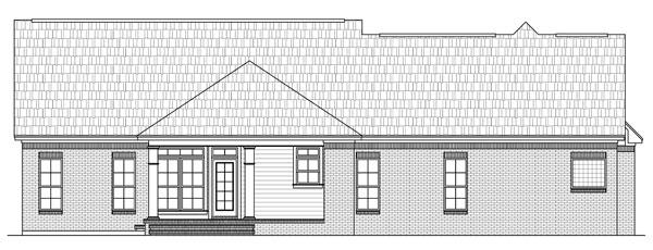 Вид сзади Проект одноэтажного дома в стиле прованс с пристроенным гаражом и мансардными окнами